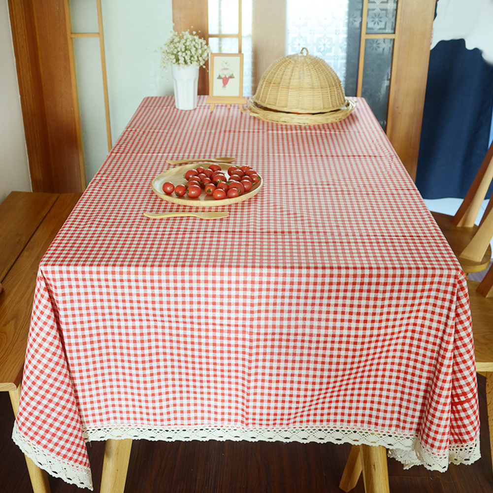 Tablecloth Plaid Red Table Cover Lace Edge Dining Cotton Linen Table Cloth Home Decoration Red plaid_140*180
