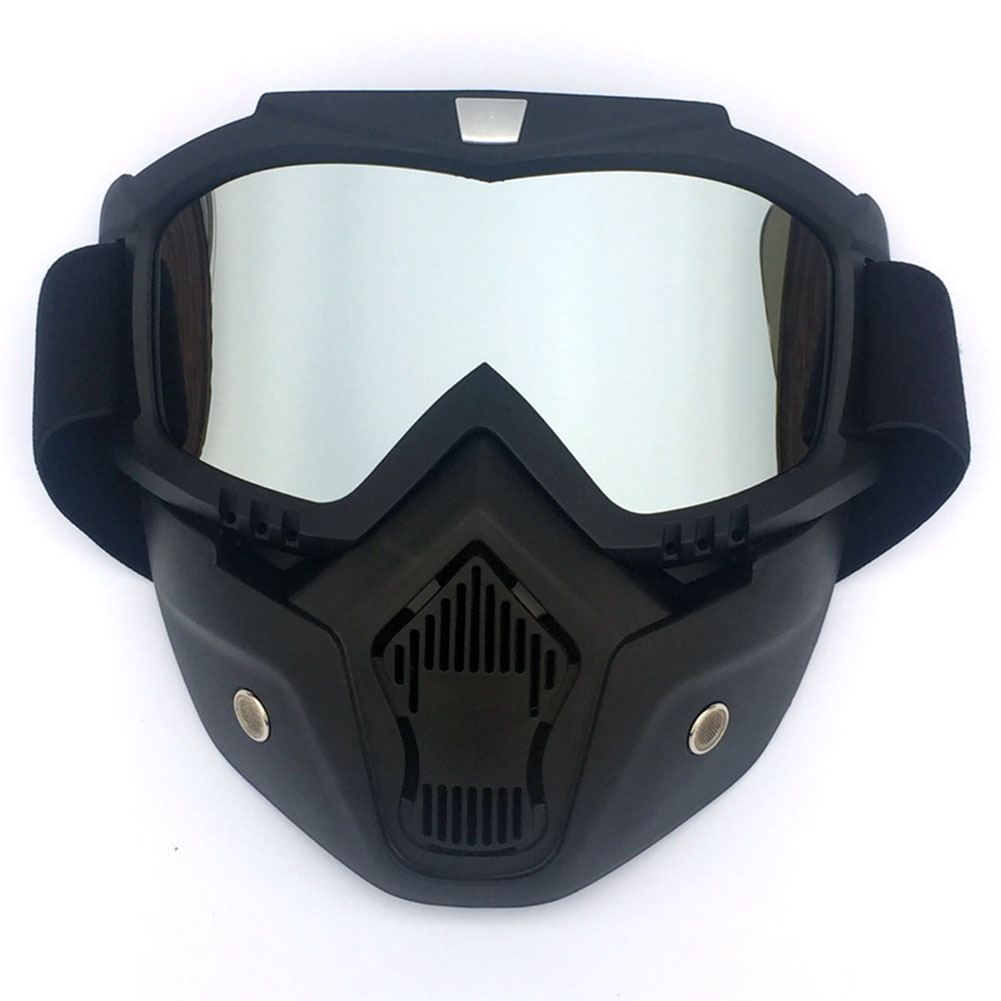 [Indonesia Direct] Men/Women Retro Outdoor Cycling Mask Goggles Snow Sports Skiing Full Face Mask Glasses