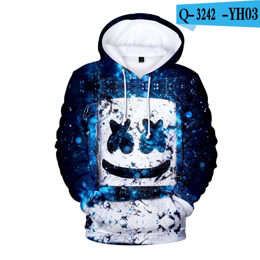 Men Women Long Sleeve Small Happy Face DJ Marshmello 3D Print Casual Hoodies Sweatshirt M style_XL