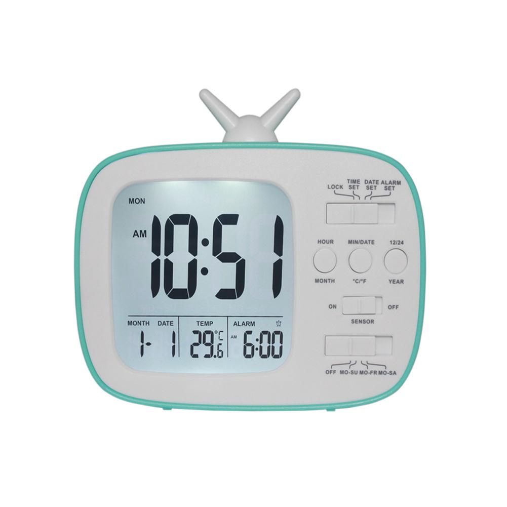 Cute  Alarm  Clock Multifunctional Bedside Battery Child Alarm Clock Bedroom Office Decoration Blue