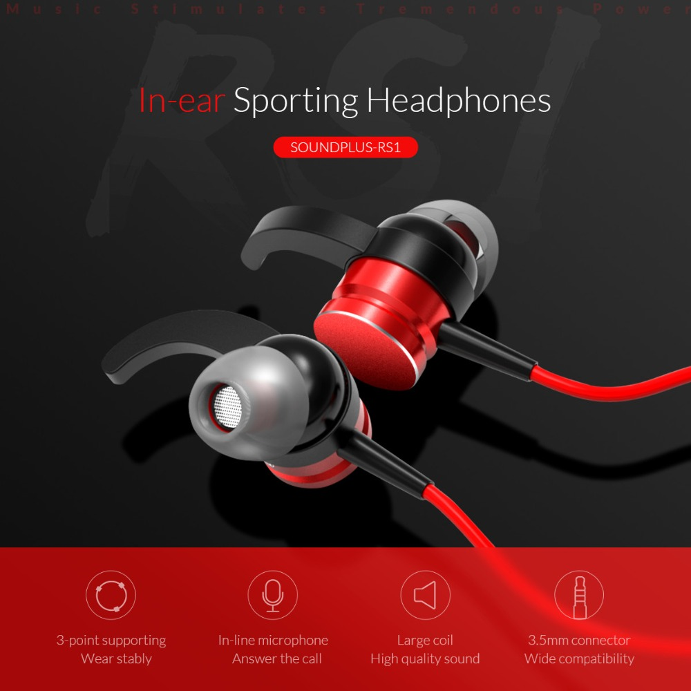 ORICO Arc-shape Hooks In-ear Earphones Music Earbuds Stereo Sporting Gaming Earphone With Microphone For Xiaomi iPhone Samsung red