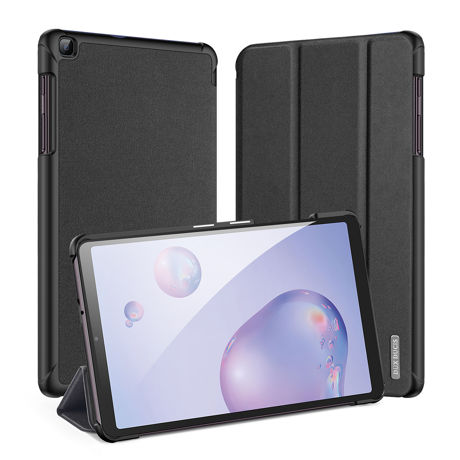 DUX DUCIS For Samsung Galaxy Tab A 8.4  2020 Simple Solid Color Smart PU Leather Case Anti-fall Protective Stand Cover with Sleep Function  black