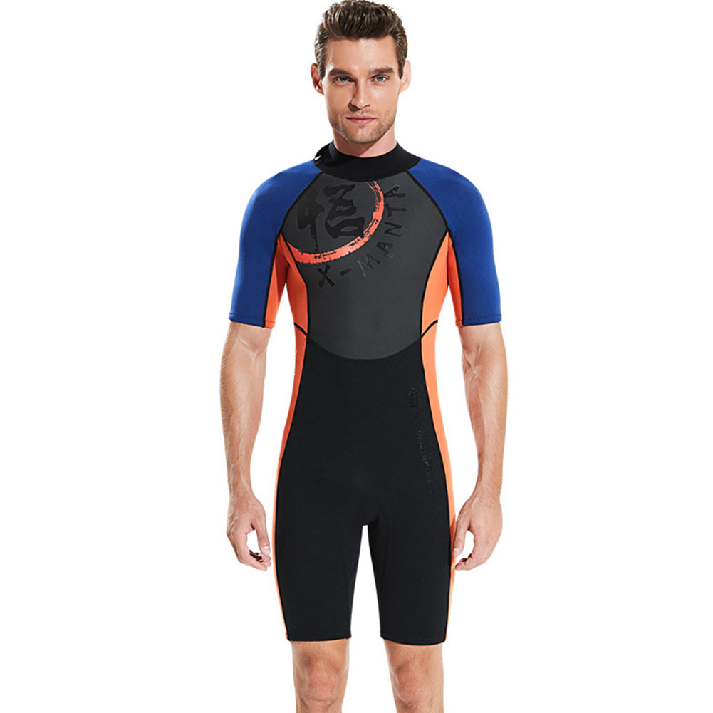 Diving Suit 3MM Siamese Short Sleeve Diving Clothes Thicken Warm Diving Surfing Jellyfish Swimwear Male orange_XL