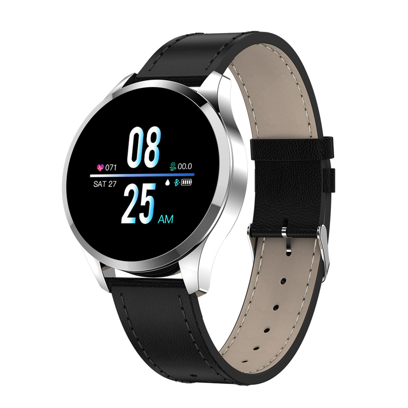 Q9 Men Smart Watch Waterproof Message Call Reminder Smartwatch Heart Rate Monitor Fashion Fitness Bracelet Silver dial black leather strap