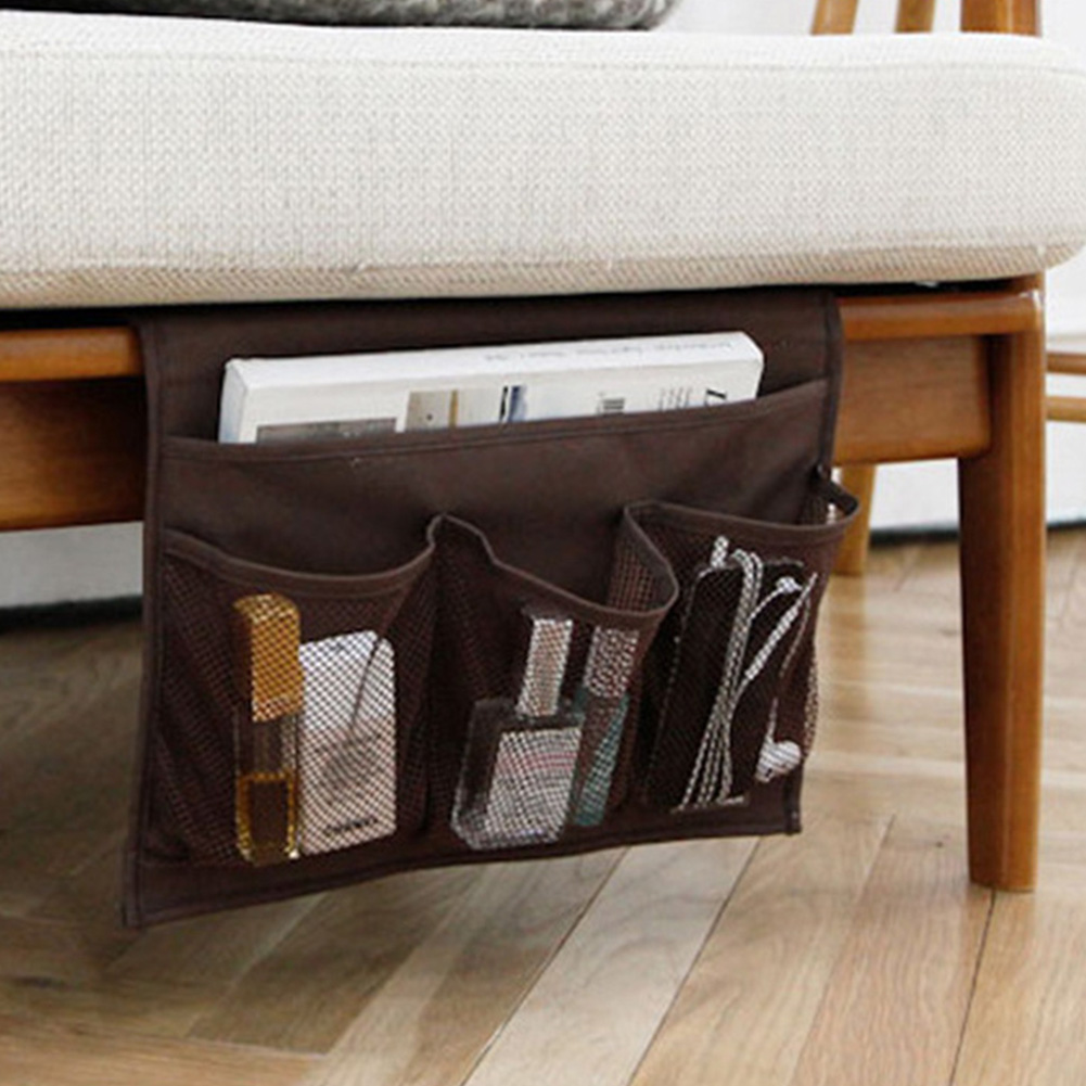 Bed Side Pocket Sofa Bag Oxford Cloth Storage Bag for Mobile Phone Remote Control Glasses Brown_33 * 24cm
