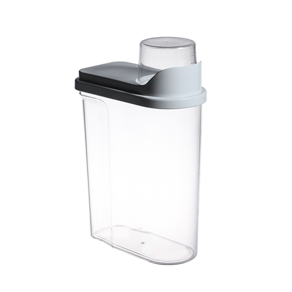 Transparent Sealed Jar Household Kitchen Grain Large Storage Fresh-keeping Can with Measuring Cup gray