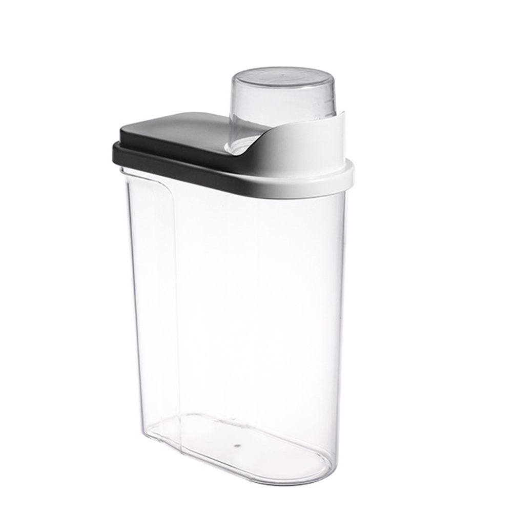 Transparent Sealed Jar Household Kitchen Grain Large Storage Fresh-keeping Can with Measuring Cup white