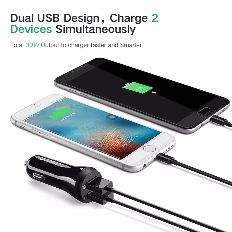 [US Direct] Original UGREEN Fast Car Charger Adapter, 30W, 5.4A Output, Dual USB-A Ports, Support QC 3.0 Fast Charge, for iPhone, Samsung, and More (Black) Black