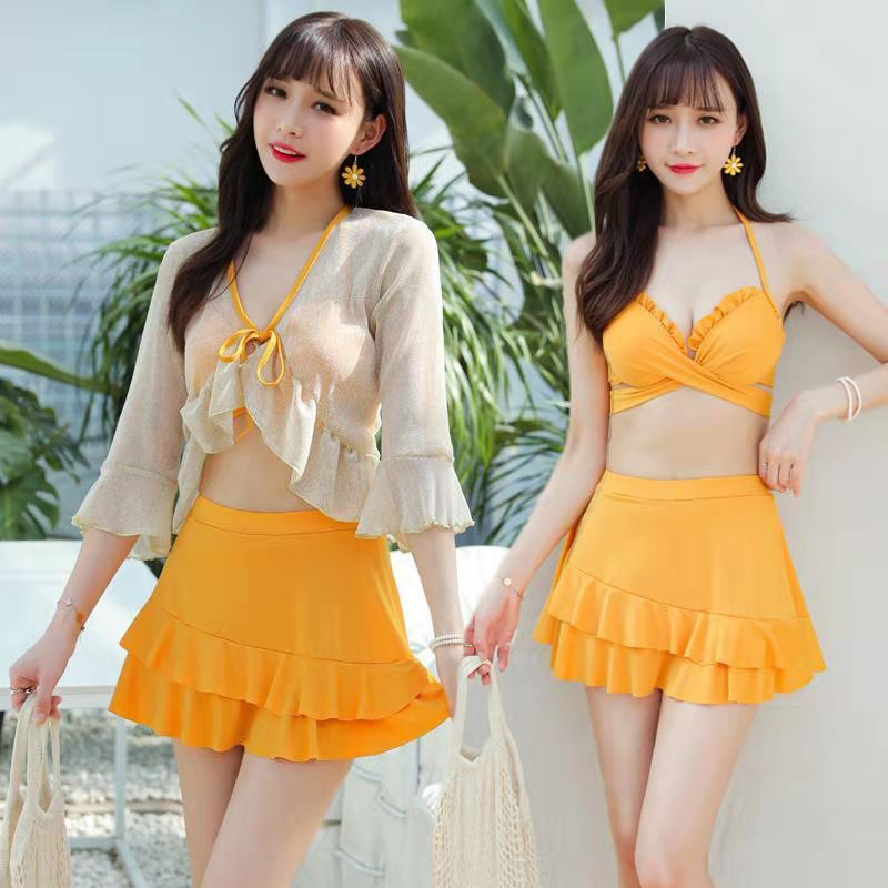 3 Pcs/set Women Swimsuit Sexy Slimming Solid Color Bikini Top+ Skirt + Overall yellow_Int:XL