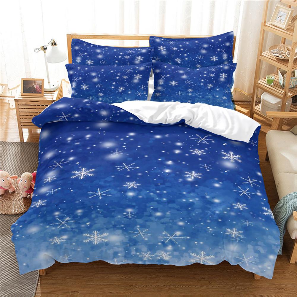 2Pcs/3Pcs Full/Queen/King Quilt Cover +Pillowcase 3D Digital Printing Christmas Series Beeding Set FUll