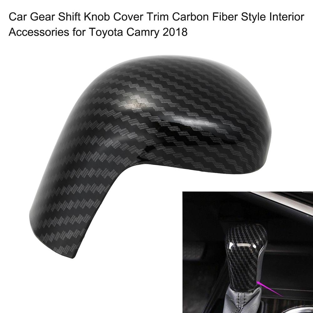 Car Gear Shift Knob Cover Trim Carbon Fiber Style Cover Trim Interior Accessories for Toyota Camry 2018-2020
