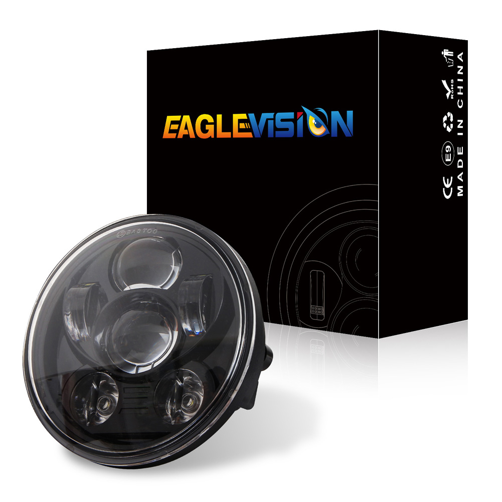 5.75 Inch Round Halo LED Headlight 6LED 200W Angel Eyes Lamp for Motorcycle  6 beads black
