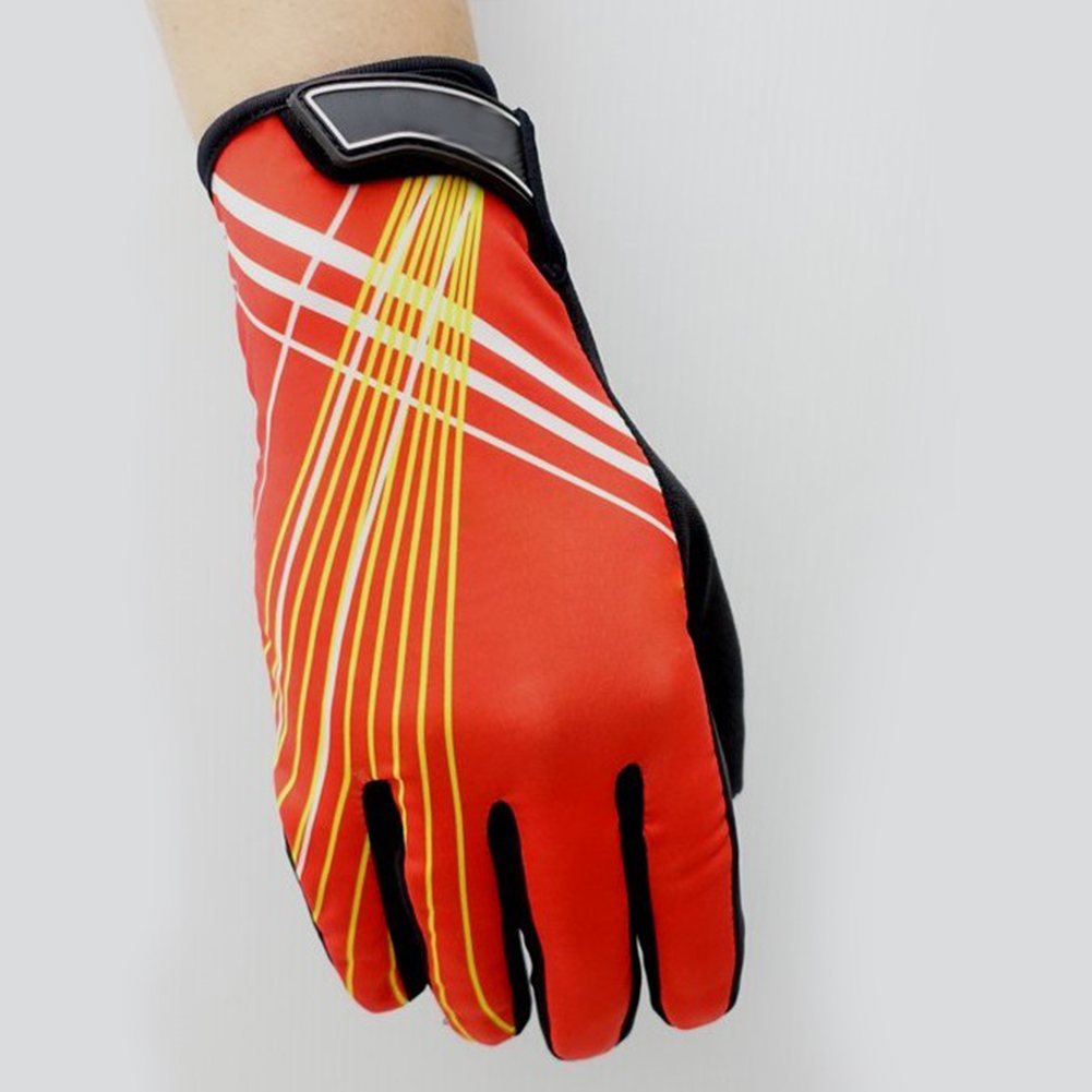 Riding Gloves Antumn Winter Mountain Bike Gloves Touch Screen Bike Gloves Red yellow line_M