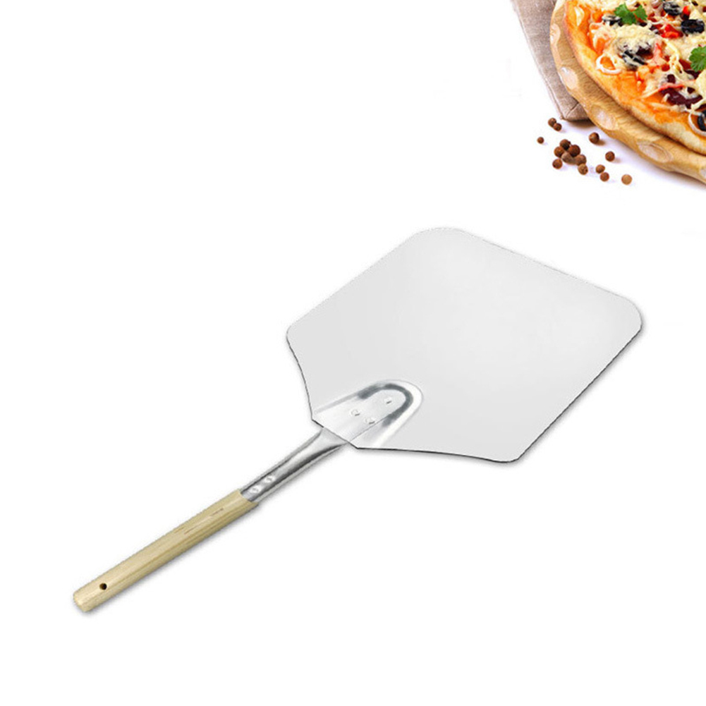 9*11 Inch Wooden Handle Aluminum Kitchen Pizza Shovel Oven Paddle Tray Baking Accessories silver_9*11 inch, full length 58cm