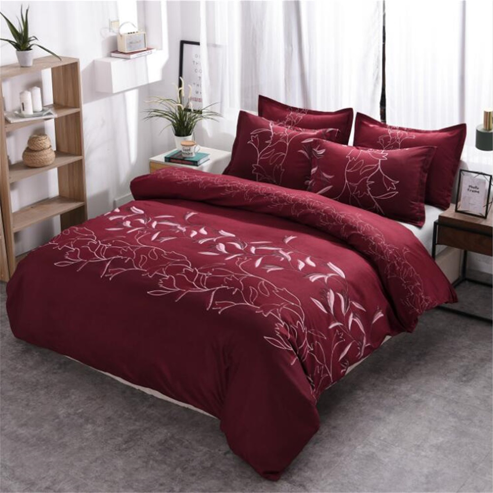 3pcs Simple  Printing Duvet  Cover Pillowcase Bedding  Sets For  Home  Hotel Wine red_260x230cm(US King)