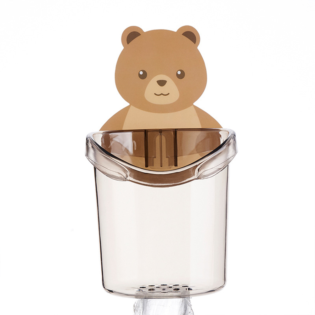 Bear  Storage  Cup Wall Mount Toothbrush Toothpaste Cup Holder Case Bathroom Accessories Grey