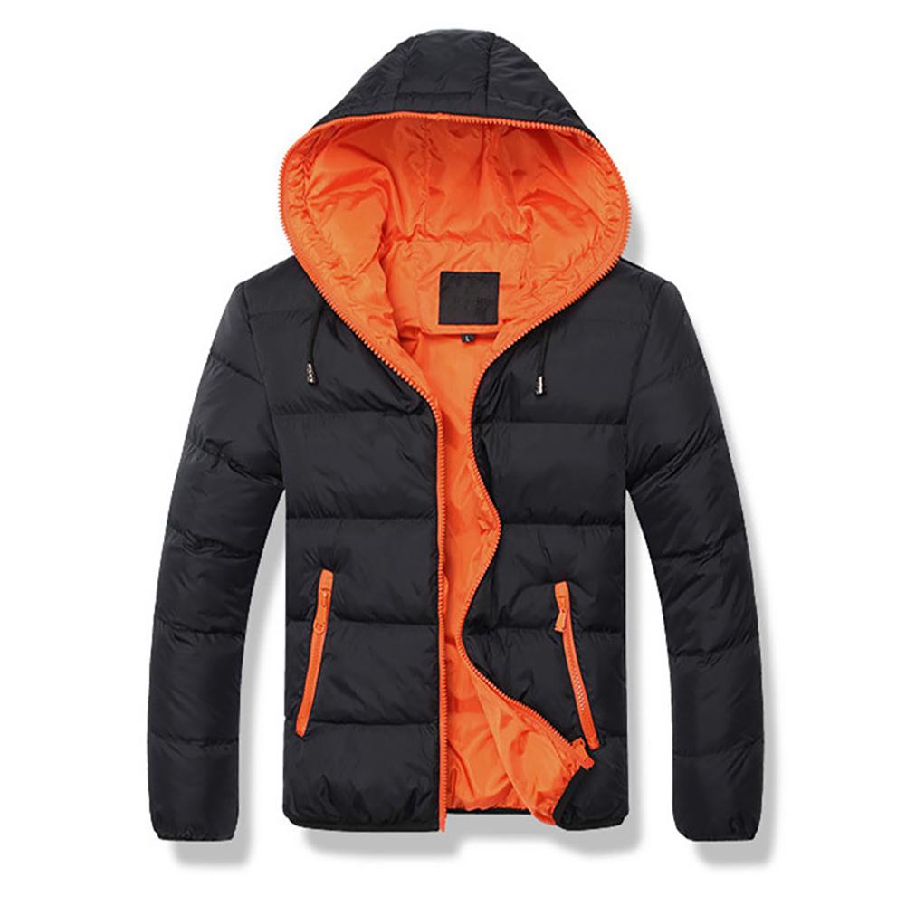 Winter Casual Outwear Windbreaker Slim Fit Hooded Overcoats Down Jackets for Man Black + orange_XXL