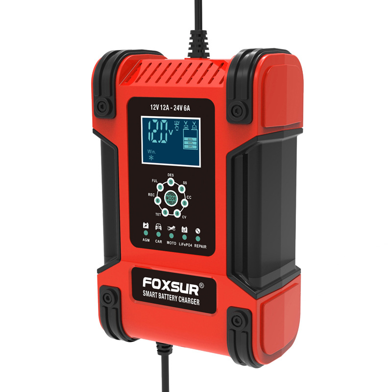 12v 24v 12a 6a Automatic Smart Battery Charger 7-stage Car Battery Charger UK Plug