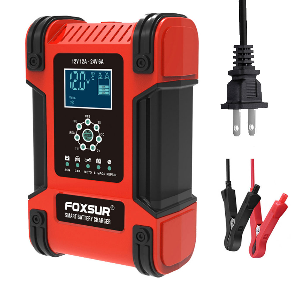 12v 24v 12a 6a Automatic Smart Battery Charger 7-stage Car Battery Charger U.S. Plug
