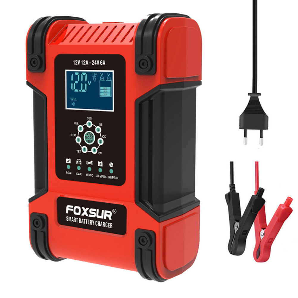 12v 24v 12a 6a Automatic Smart Battery Charger 7-stage Car Battery Charger EU Plug