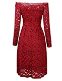 [US Direct] One-word collar, long-sleeved, big swing, hollow lace dress, wine red S+HiQueen tag