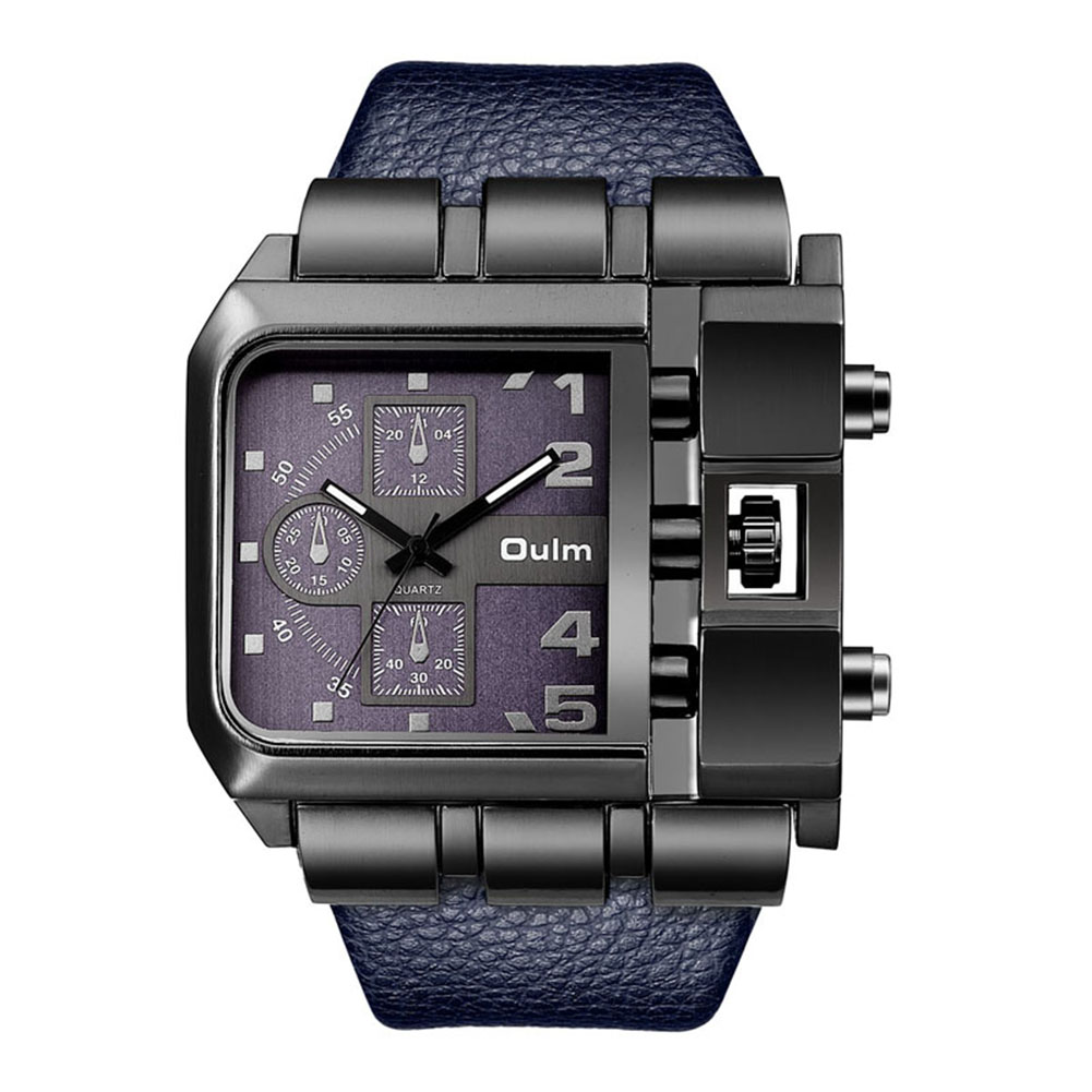Fashion Rectangle Watch Quartz Movement Casual Wristwatch  blue