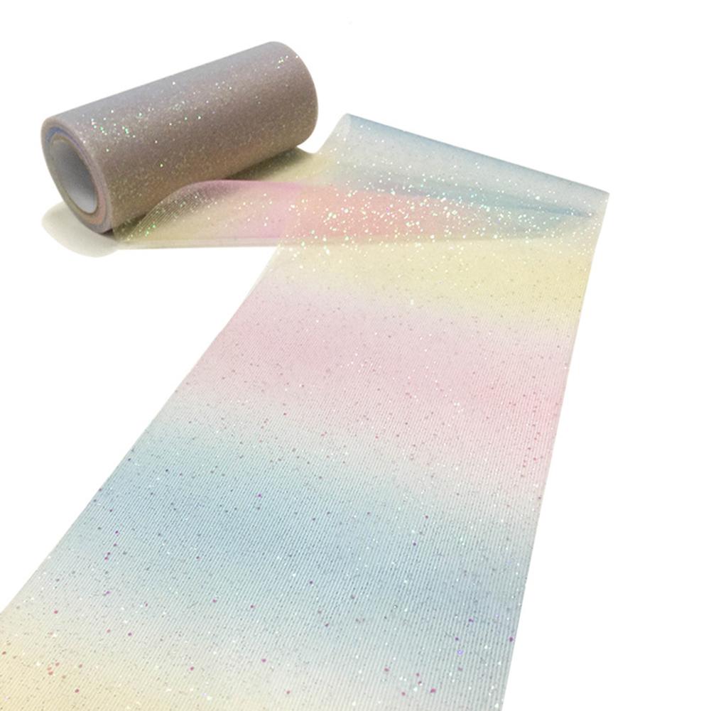 Wide 15cm * Length 10y Spool Rainbow Yarn Glitter Tulle Wedding Decoration Organza Flashing DIY Crafts Birthday Party Supplies Light (blue, pink, yellow)