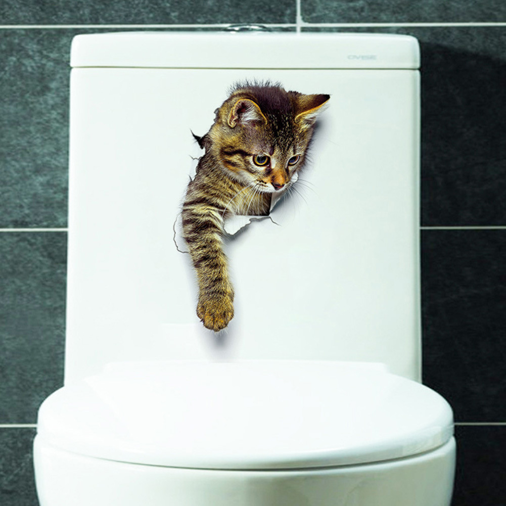 Hole View 3D Cat Wall Sticker Bathroom Toilet Living Room Home Decor Animal Vinyl Decals Poster XH2003