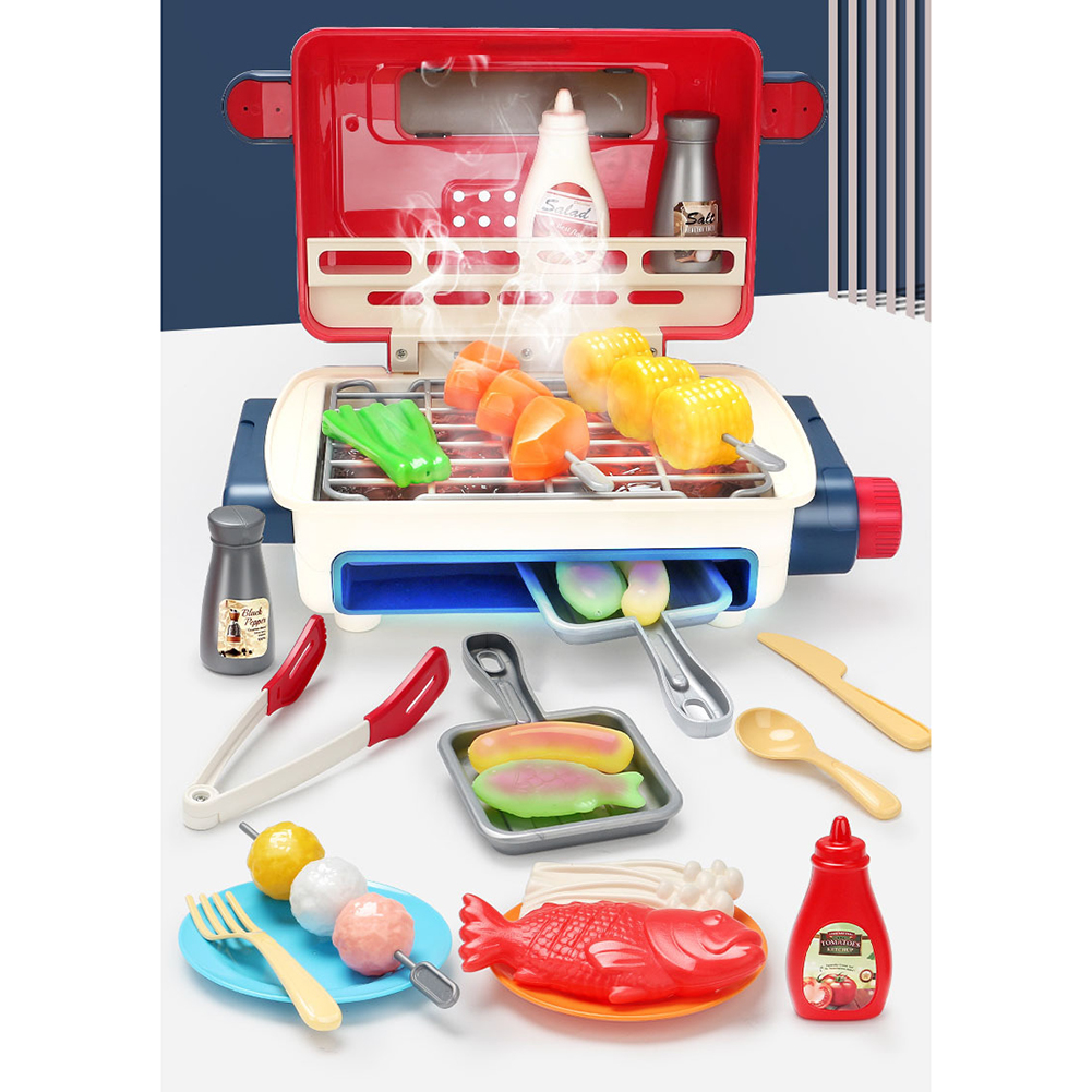 Children Smart Spray Kitchen  Toy Play House Cooking Barbecue Station Picnic Music Set Color box type 33PCS