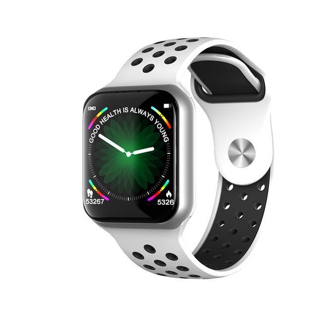 F8 Smart Watch Heart Rate Blood Pressure Blood Oxygen Monitoring Waterproof Smart Bracelet Silver shell white black belt