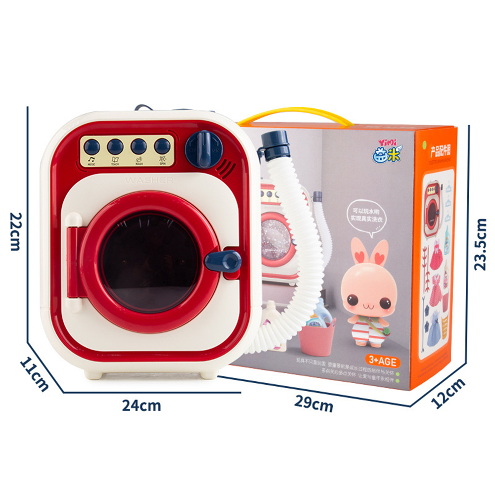 Children  Washing  Machine  Toy  Set Electric Mini Drum Rotate Kinetic Energy Simulation Appliances Portable color box