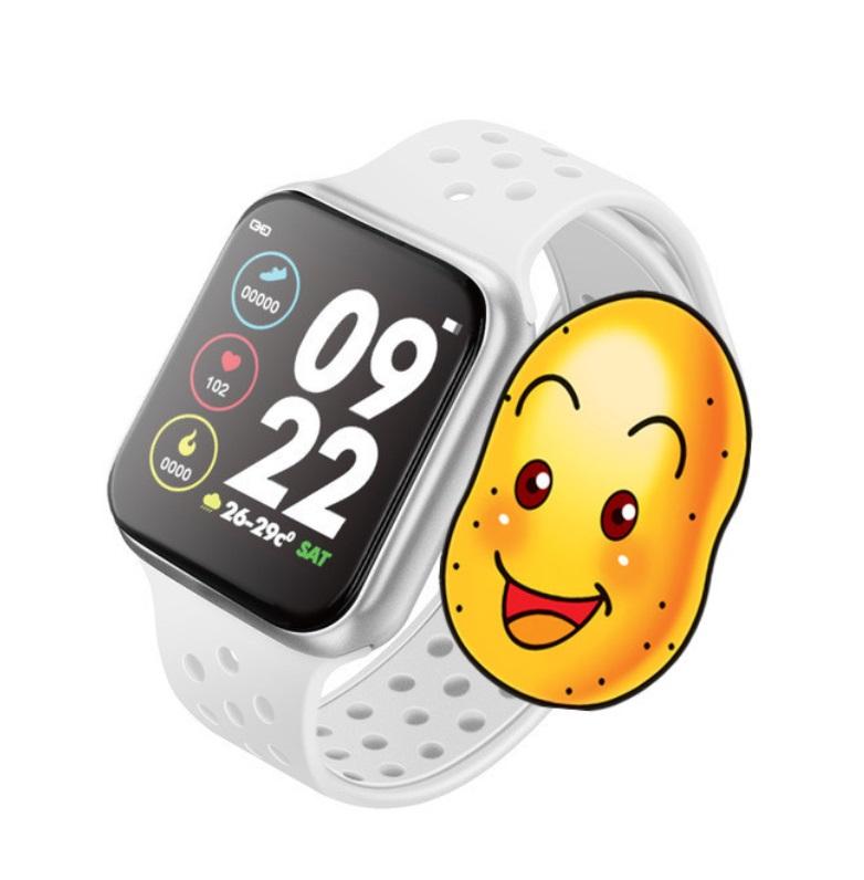 F8 Smart Watch Heart Rate Blood Pressure Blood Oxygen Monitoring Waterproof Smart Bracelet Silver shell whit belt