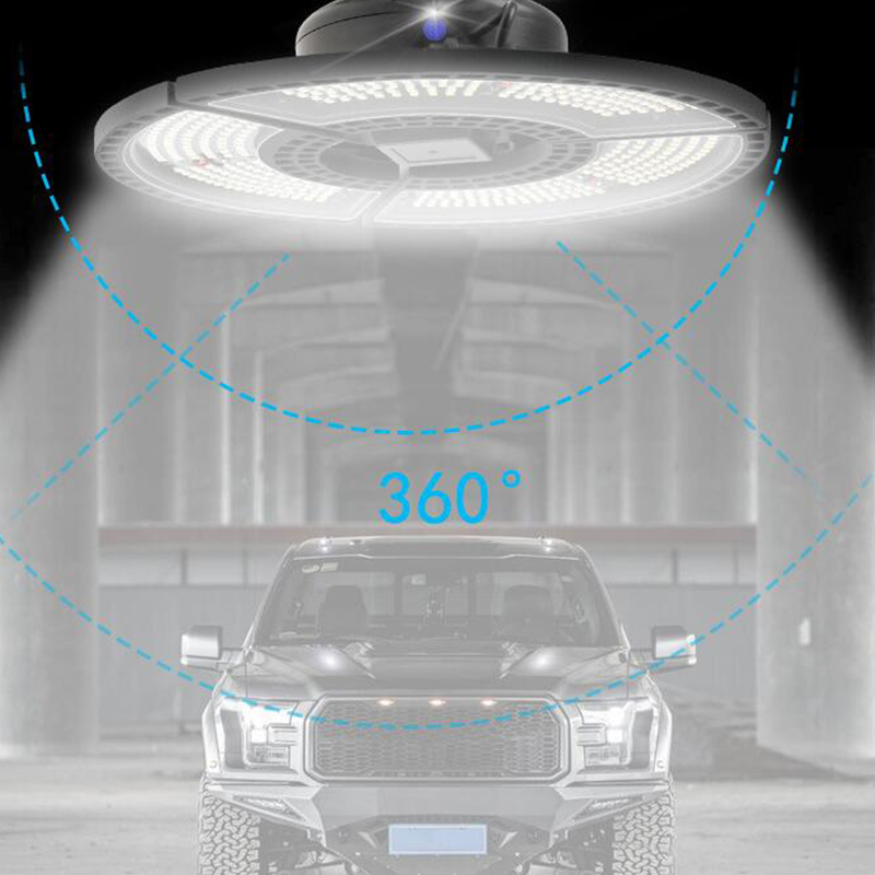 Led Deformable Lamp 60W/80W/100W/120W Round Shape Garage Light Warehouse Lighting No Induction warm light_Garage light B, wide pressure 60W
