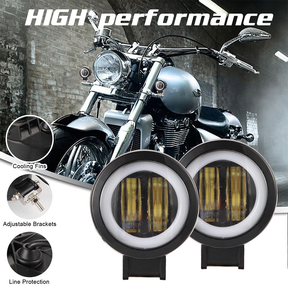 1/2 Pcs 3 Inch 40W Fog Light White 6000K Waterproof Round Led Angel Eye Light Strip Off-Road Vehicle Marine Work Light Motorcycle Light black_2PCS