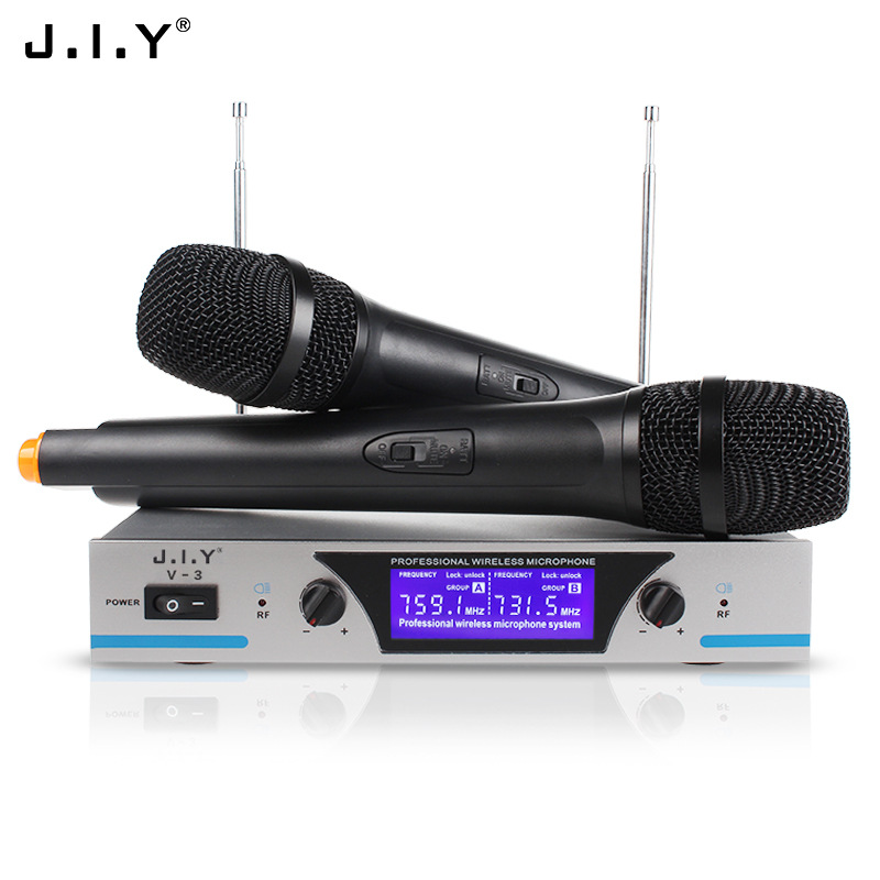 V3 Dual Channels Wireless Microphone Mic System Hi-Fi Sound Wireless Mic System for KTV Silver_EU plug