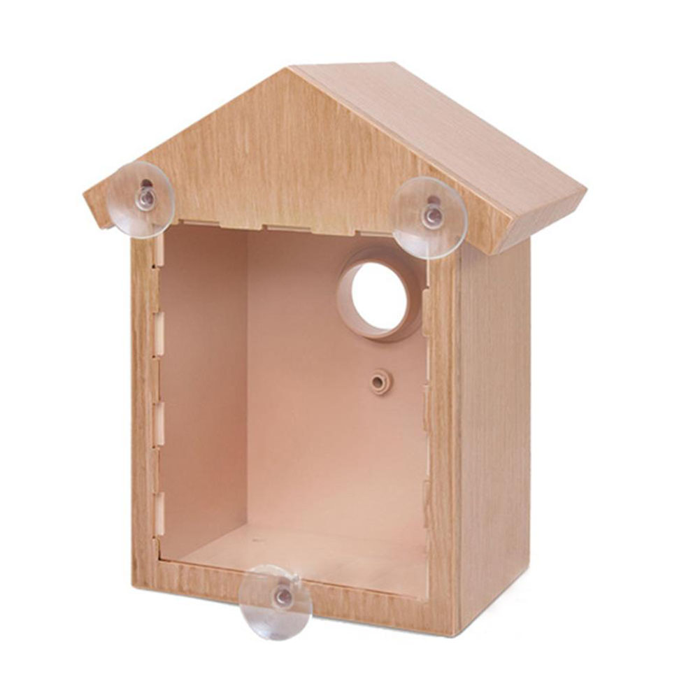 Outdoor Wooden DIY Bird Nest Cage Bird Feeder with Suction Cup Window Decorations Wood color_L