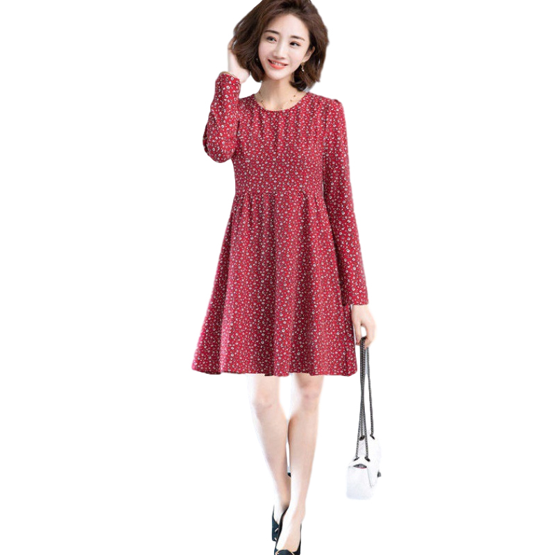 Women's Leisure Dress Autumn Loose Round Neck Long-sleeved Printing Mid-length Dress red_XXXL