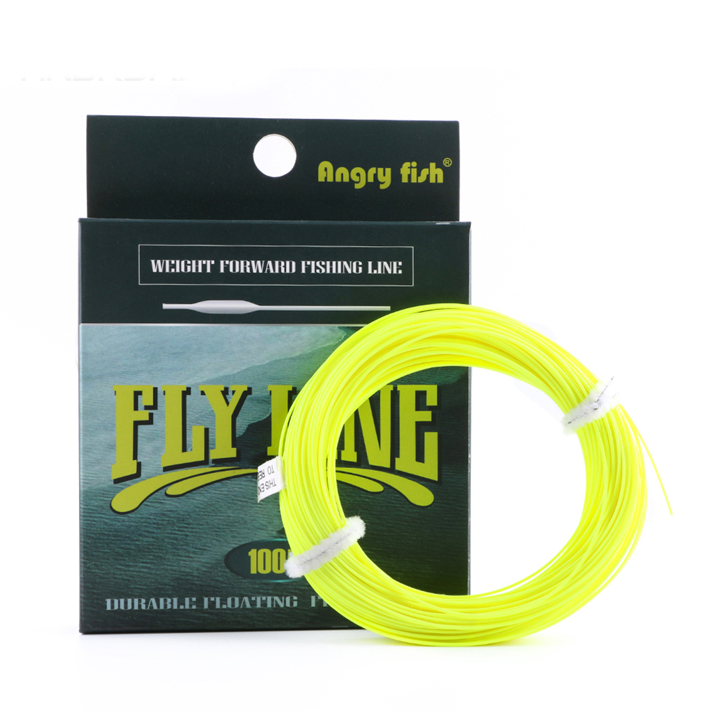 ANGRYFISH WF 5F/6F/7F 100FT Dloating Fly Fishing Line Weight Forward Floating Nylon Backing Line Tippet Tapered Leader Loop Yellow WF5
