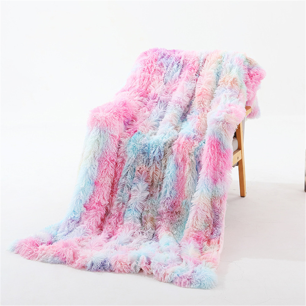 Double Layer Throw Blanket Long Hair Plush Decorative Tie-dye Blankets for Couch Sofa Bed Tie-dye rainbow colors