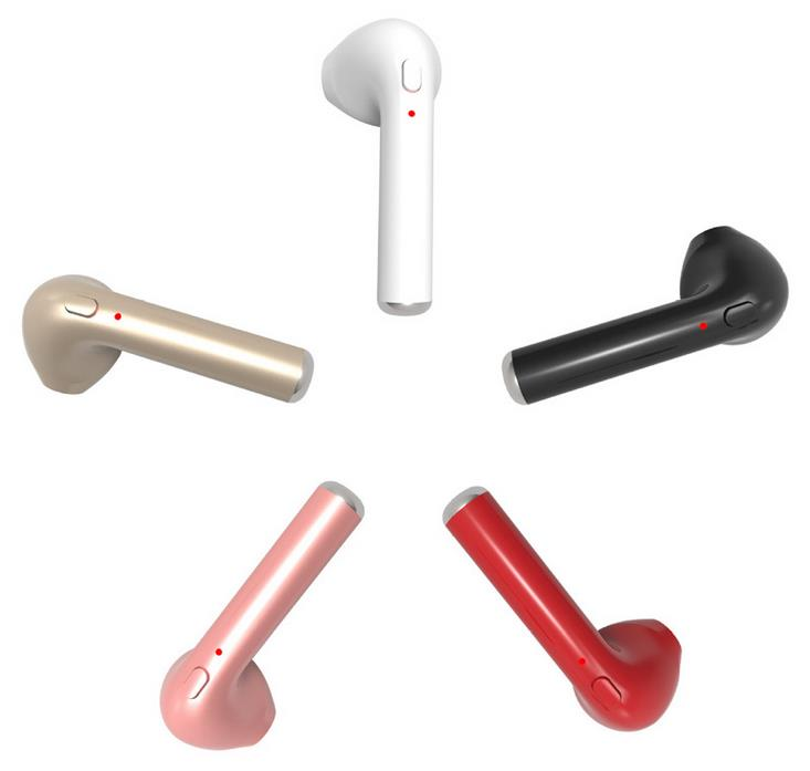 HBQ i7 Mini Wireless Single Earpiece Headphones Hands-free Stereo Noise Canceling Bluetooth Earbud with Mic, Pink
