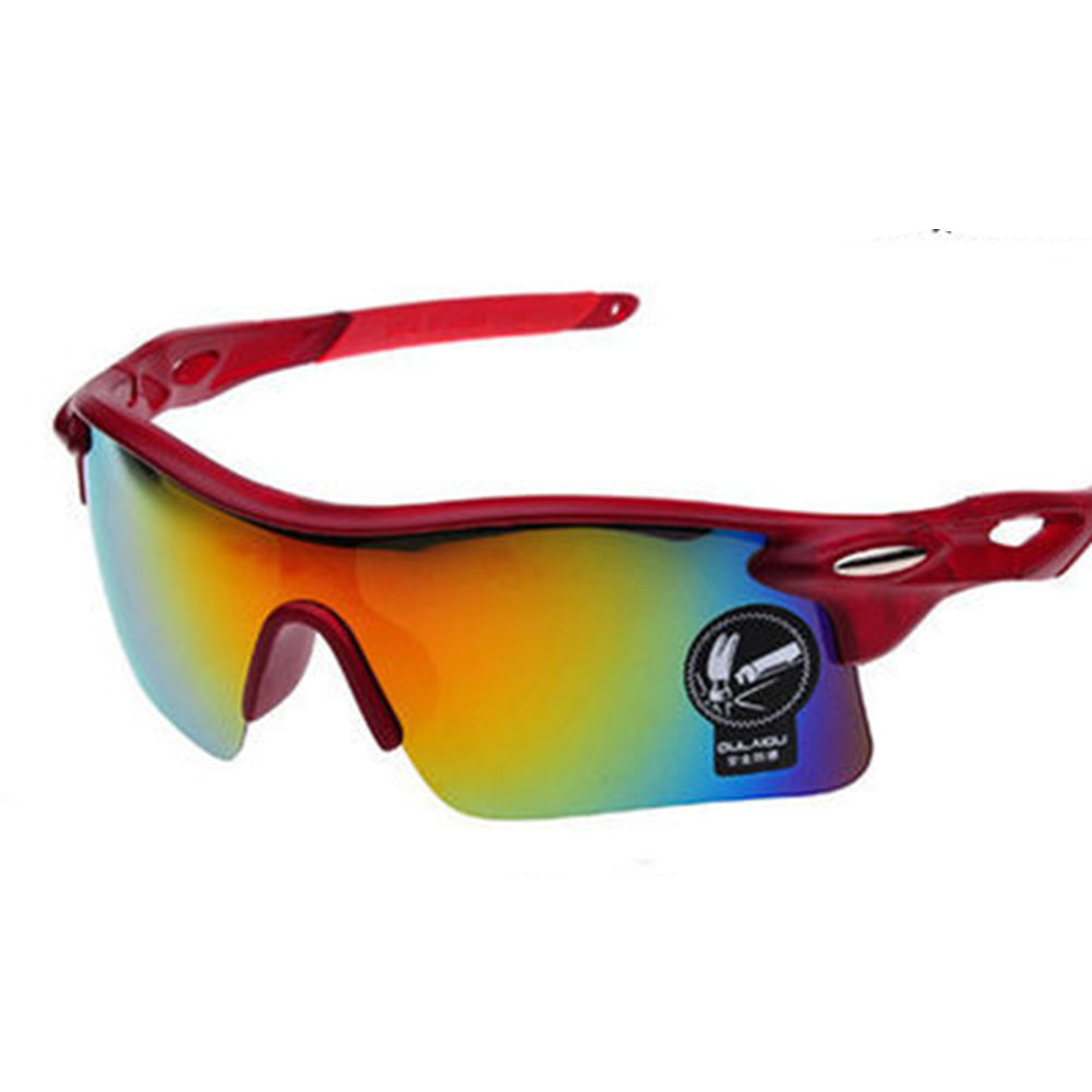 Cycling Glasses Sports Sunglasses Motorcycle Bike Bicycle Riding Goggles with Wind UV 400 Protection for Men and Women Frosted red (red mercury lens)