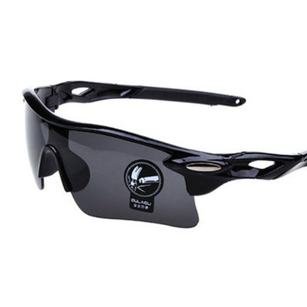Cycling Glasses Sports Sunglasses Motorcycle Bike Bicycle Riding Goggles with Wind UV 400 Protection for Men and Women Bright black (full gray lens)