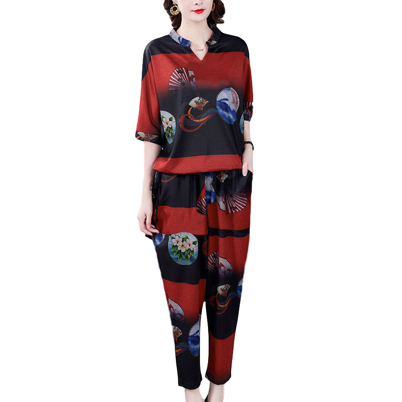 Women's Suit Autumn Casual Printing Elbow Sleeve Loose Top + Pants red_3XL