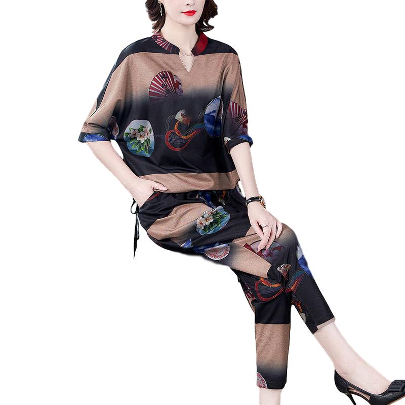 Women's Suit Autumn Casual Printing Elbow Sleeve Loose Top + Pants Khaki_L