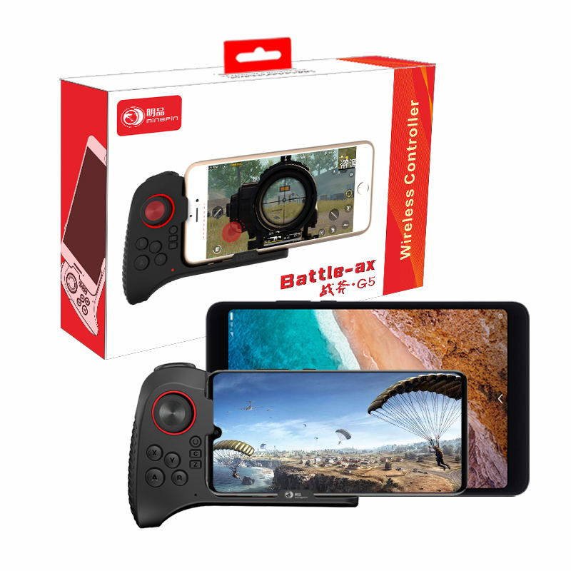G5 One-Handed Wireless Bluetooth Gamepad Mobile Controller Game Joystick black