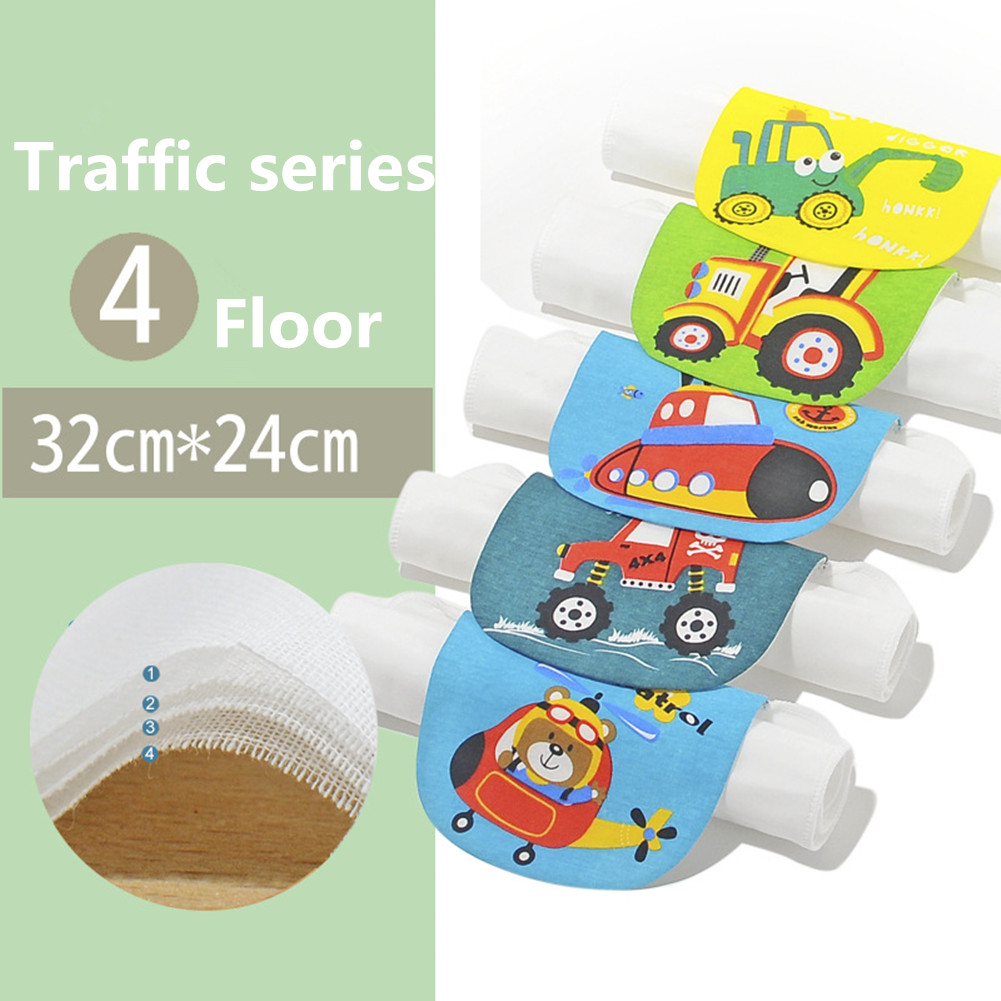 5PCS Baby Cotton Sweat Towel Cartoon Printing Towel Pad A (4 layers of medium code traffic series)_32*24cm