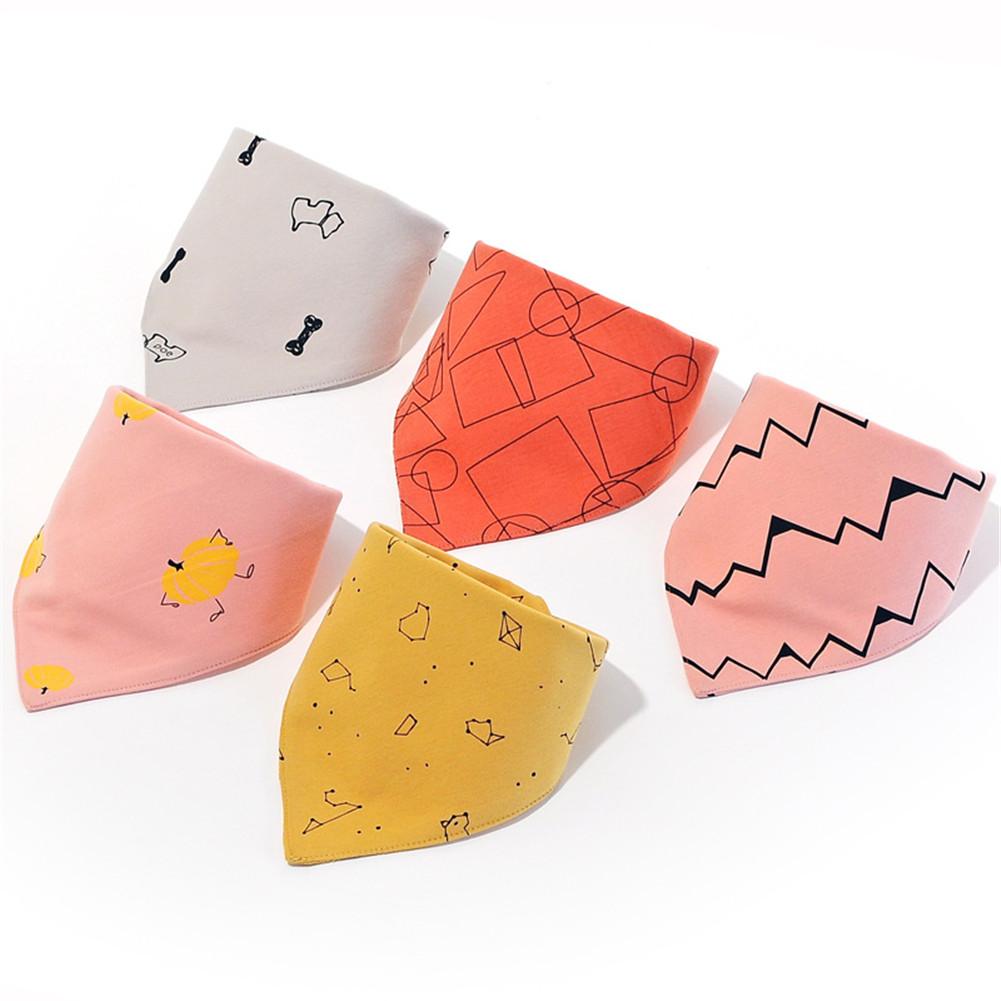 5PCS Baby Cotton Cute Printing Triangle Towel Bib B