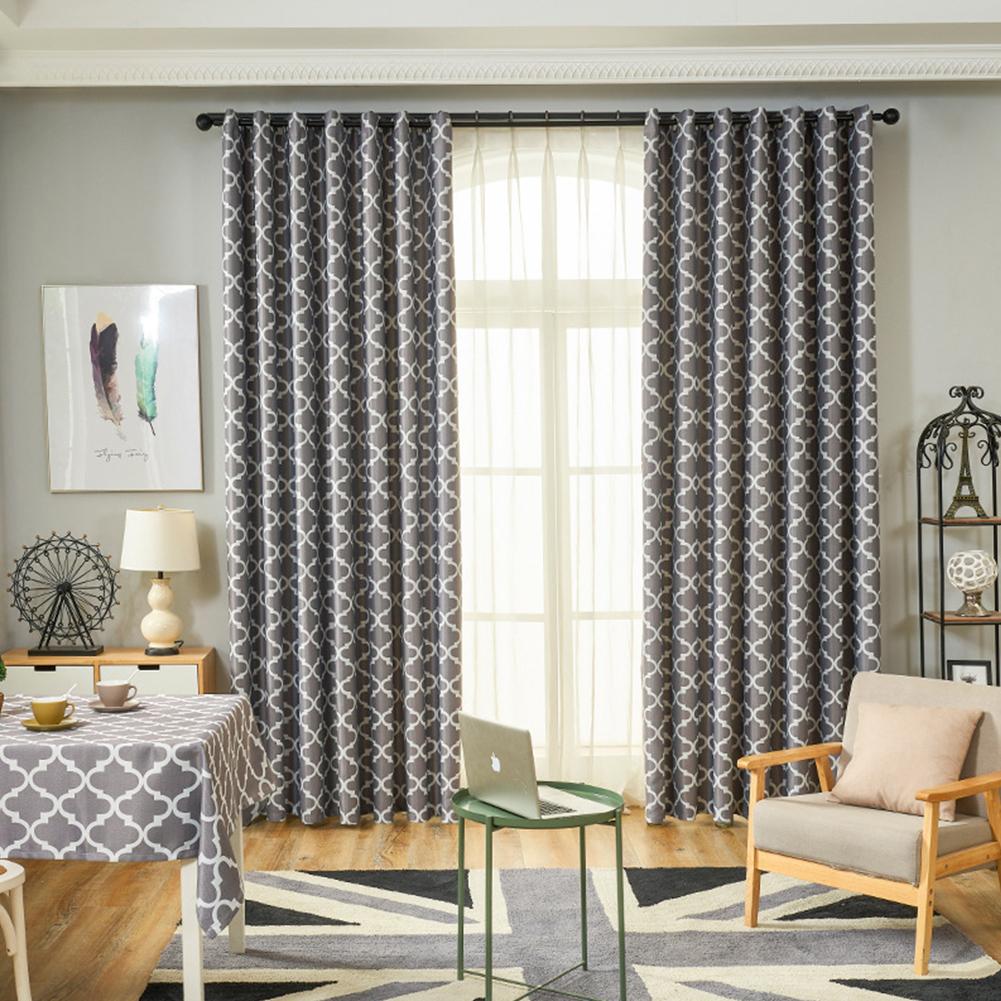 Modern Simple Window Curtain Ellipse Printing Shading for Living Room Bedroom  gray_200cm*270cm