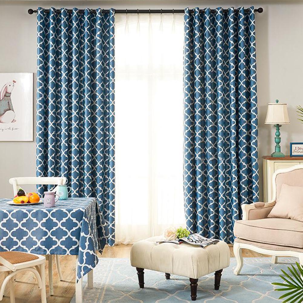 Modern Simple Window Curtain Ellipse Printing Shading for Living Room Bedroom  blue_200cm*270cm