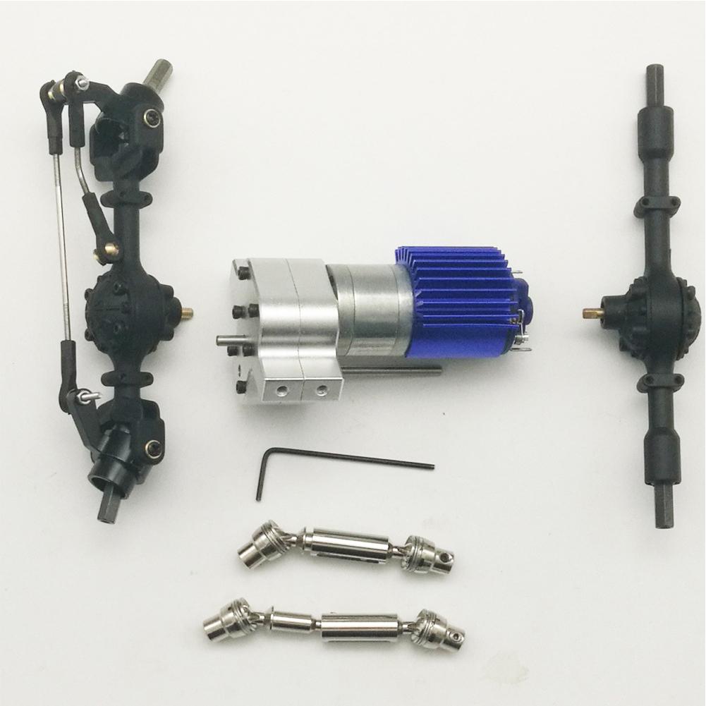 Metal DIY Accessories for RC WPL JJRC B14 B24 C14 B36 Q60 Q61 Car Silver box +4X4 black front and rear axle + pair of drive shaft